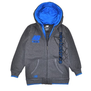New Balance Big Boys' Double Hooded Hoodie in Charcoal Grey/ Blue