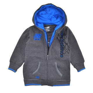 New Balance Toddler Boys' Double Hooded Hoodie in Charcoal Grey/ Blue