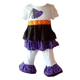 Girls Halloween Kitty Cats and Witch Hats Polka Dot Knit Outfit