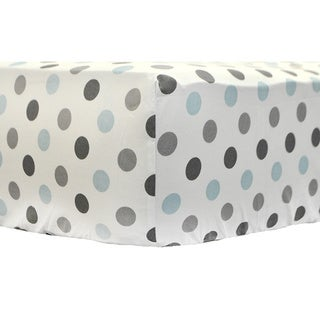 My Baby Sam Aqua Polka Dot Crib Sheet