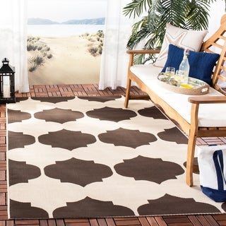 Safavieh Indoor/ Outdoor Courtyard Beige/ Chocolate Rug (9' x 12')