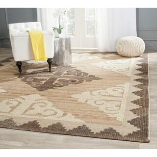 Safavieh Handmade Kenya Brown/ Charcoal Wool Rug (7' Square)