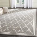 Safavieh Indoor/ Outdoor Amherst Dark Grey/ Beige Rug (7' Square)
