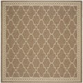 Safavieh Indoor/ Outdoor Courtyard Dark Beige/ Beige Rug (7'10 Square)