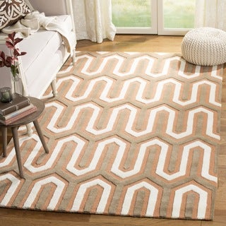 Safavieh Handmade Moroccan Cambridge Orange/ Grey Wool Rug (6' Square)