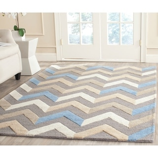 Safavieh Handmade Moroccan Cambridge Grey/ Ivory Wool Rug (6' x 9')