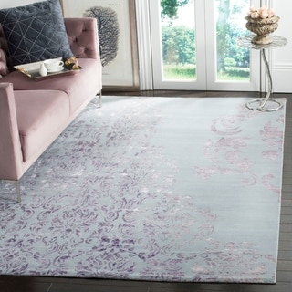 Safavieh Hand-knotted Tibetan Beige/ Purple Wool/ Viscose Rug (8' x 10')