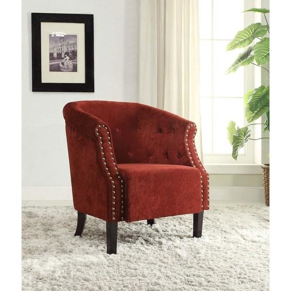 Linon Red Tufted Nailhead-trim Barrel Chair