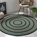 Safavieh Hand-woven Braided Ivory/ Dark Green Rug (6' Round)