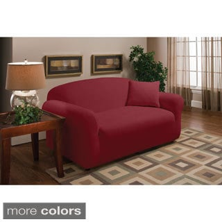 Stretch Coral Microfleece Loveseat Slipcover