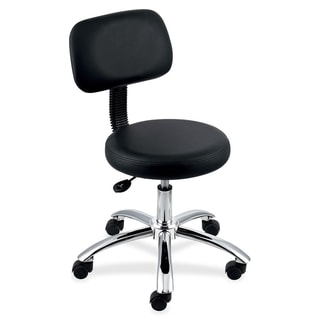 Lorell Round Black Stool with Back