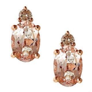 D'yach 14k Rose Gold 1 2/7ct TDW Diamond and Morganite Stud Earrings (G-H, SI1- SI2)