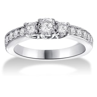 14k White Gold 1/2ct TDW Three-stone Diamond Ring (G-H, I1-I2)