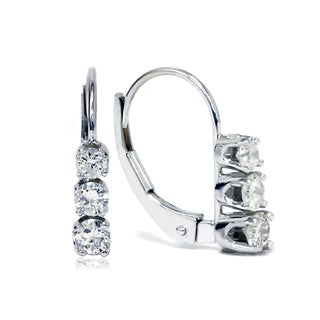Bliss 14k White Gold 1/2ct TDW Diamond Leverback Earrings (G-H, I2-I3)