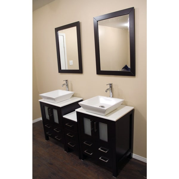 Espresso Oak 60 Inch Bath Vanity Cabinet Combo With Marble Top And Mirror 1