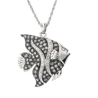SilverMist Sterling Silver 3/4ct TDW Grey and White Diamond Fish Necklace (H-I, I2-I3)