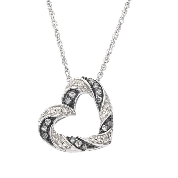 SilverMist Sterling Silver 1/2ct TDW Grey and White Diamond Heart Pendant (H-I, I2-I3)