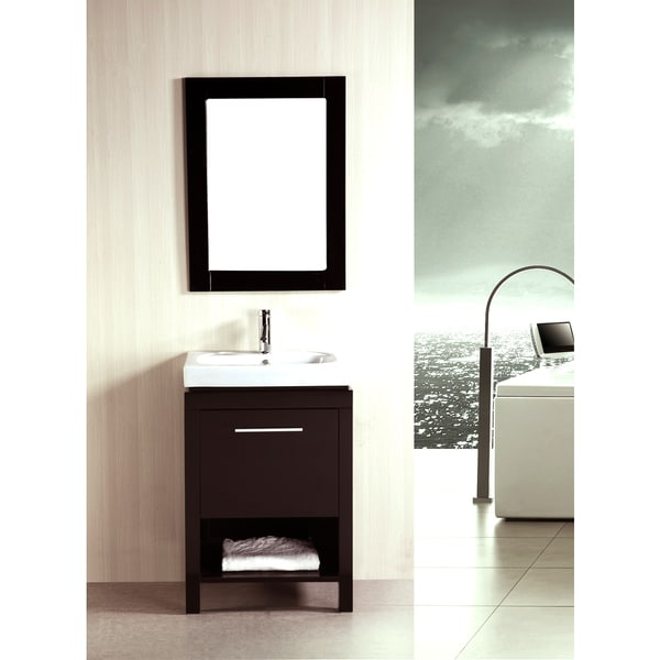 kokols 24 inch single free standing bath cabinet with ceramic sink