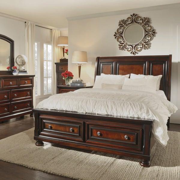 elliot distressed warm brown 5 piece 2 drawer wood sleigh