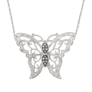 SilverMist Sterling Silver 1/4ct TDW Grey and White Diamond Butterfly Necklace (H-I, I2-I3)
