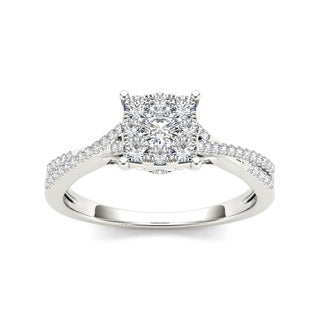 De Couer 10k White Gold 1/2ct TDW Composite Diamond Engagement Ring (H-I, I2)