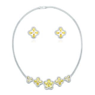 Blue Box Jewels Yellow Topaz Cubic Zirconia Flower Necklace and Earring Set