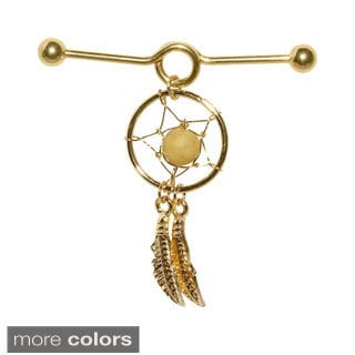 Supreme Jewelry Industrial Barbell with Danging Dream Catcher Earring