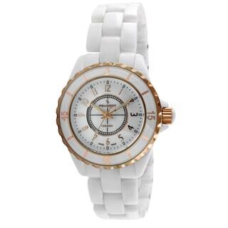 Peugeot Women's PS4895RG Swiss White Ceramic Sport Bezel Watch