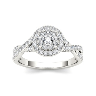 De Couer 10k White Gold 1/2ct TDW Diamond Imperial Engagement Ring (H-I, I2)