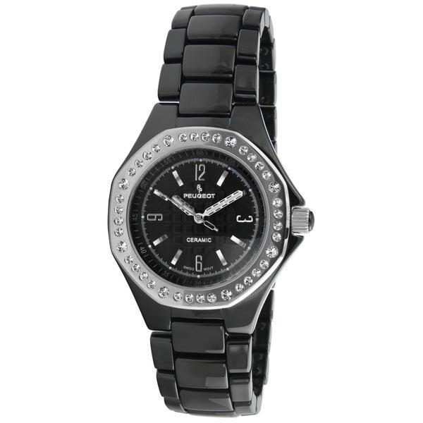 Peugeot Women's PS4896BS Swiss Black Ceramic Watch