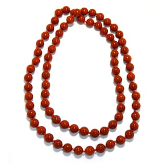 Pearlz Ocean Red Jasper Knotted Endless Necklace