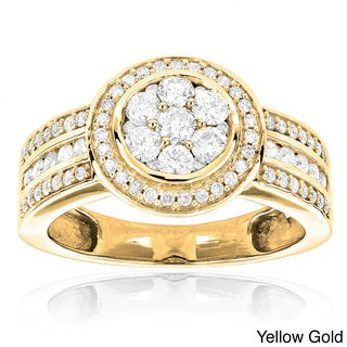 Luxurman 14k Gold 1 1/5ct TDW Diamond Engagement Ring (H-I, SI1-SI2)