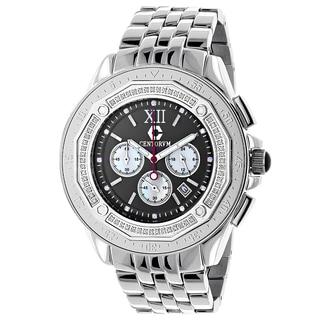 Centorum Falcon Men's 1/2ct TDW Diamond Chronograph Watch Metal Band plus Extra Leather Straps