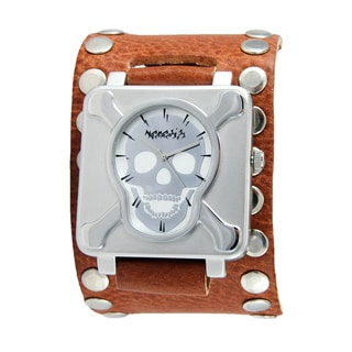 Nemesis Men's Silver Skull and Crossbones Studded Leather Cuff Band Watch