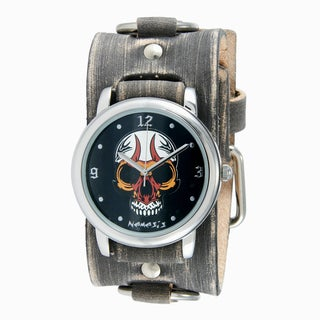 Nemesis Men's Faded Grey Leather Ring Cuff Band Black Skull Watch