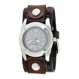 Nemesis Men's Silver Carbon Fiber Brown Wide Weaving Leather Cuff Band Watch