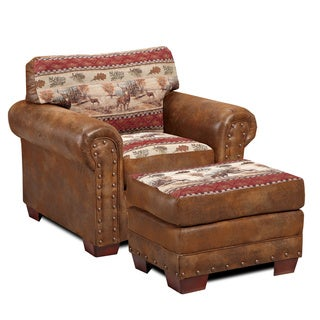 Deer Valley Microfiber and Printed Tapestry Lodge Chair