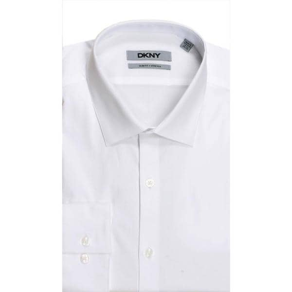 DKNY Slim Fit Natural Cotton Stretch Pinpoint White Dress Shirt