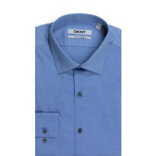 DKNY Slim Fit Natural Cotton Stretch Pinpoint Navy Dress Shirt