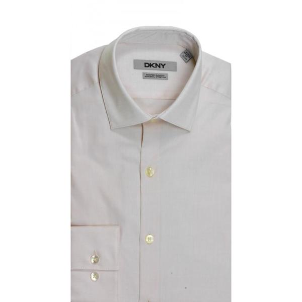 DKNY Slim Fit Natural Cotton Stretch Pinpoint Hemp Dress Shirt