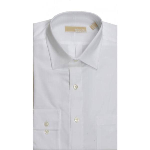 Michael Kors Regular Fit Broadcloth Solid White Dress Shirt