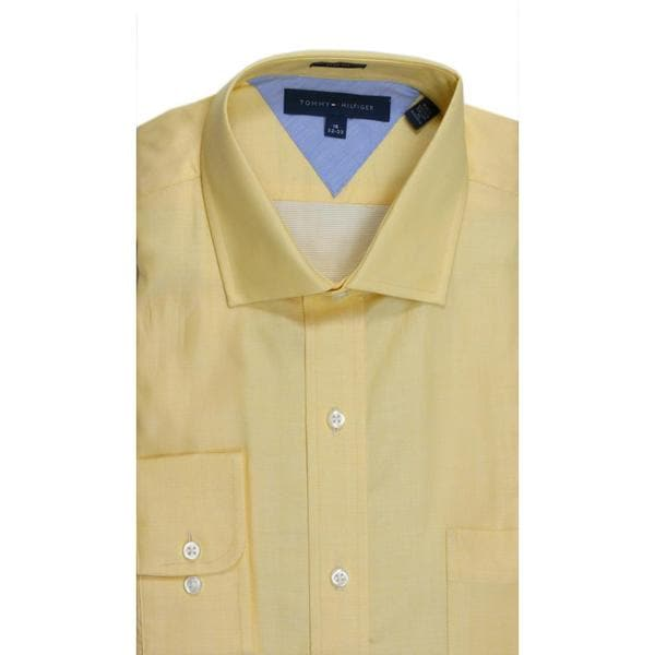Tommy Hilfiger Slim Fit Pique Yellow Dress Shirt