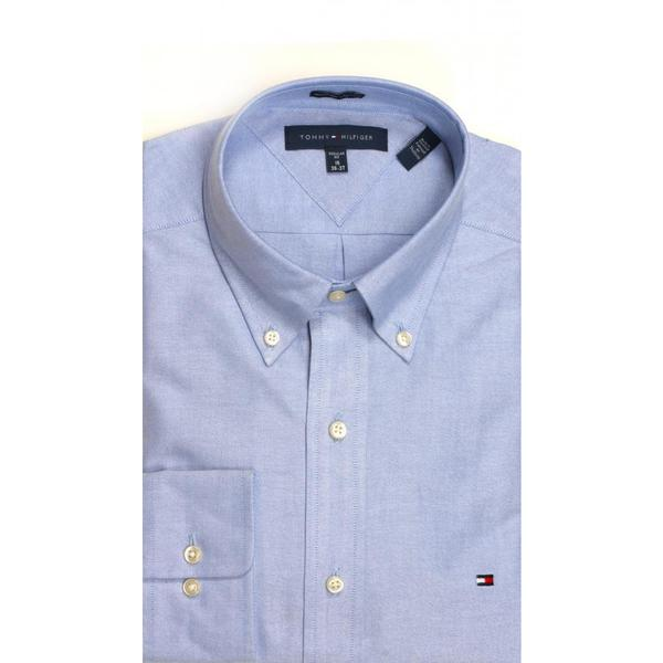 Tommy Hilfiger Regular Fit Oxford Solid Blue Dress Shirt