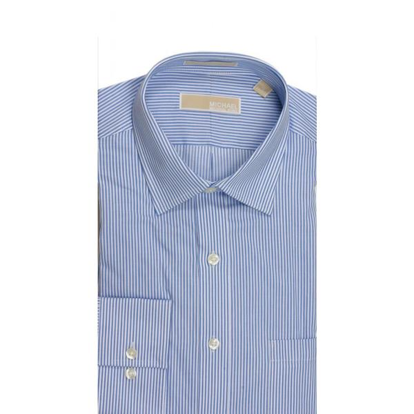 Michael Kors Regular Fit Broadcloth Stripe Cornflower Blue Dress Shirt