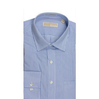 Michael Kors Regular Fit Broadcloth Stripe Cornflower Blue Dress Shirt