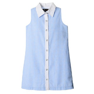ABS KIDS by Allen Schwartz Girls Blue and White Checkered Shirt Dress