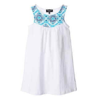 Essentials by ABS Girls White and Blue Printed Yoke Dress