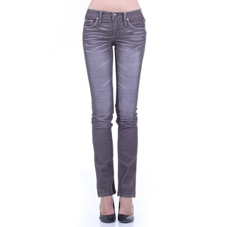 Stitch's Women's Whisker Distressed Straight Leg Jeans