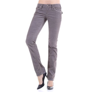 Stitch's Women's Slim Fit Grey Thin Corduroy Jeans