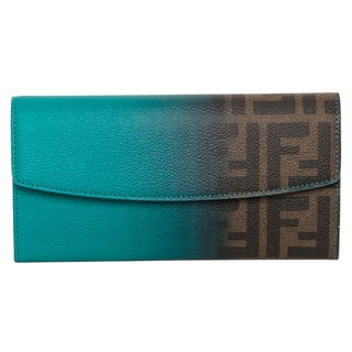 Fendi Zucca Tobacco and Teal Continetal Wallet